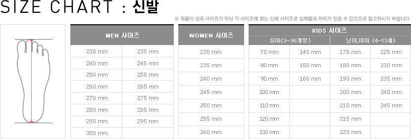 SIZE CHART 신발